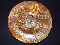 Reduced! Fenton Stag And Holly Marigold 3-spatula Foot 9 DI Plate Carnival