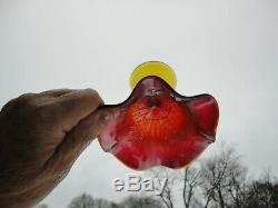 Scarce Fenton Holly Ruffled Compote in Amberina Red color. Antique (no markings)
