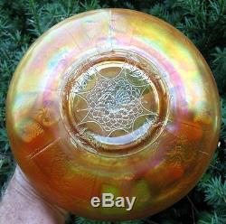 Scarce & highly desirable Dragon & Strawberry Pattern Carnival Glass ICS Bowl