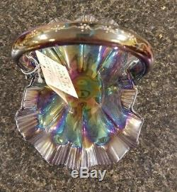 Signed Bill Fenton Hand Painted Purple Iridescent Carnival Glass Basket