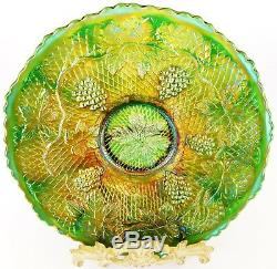 Spectacular Fenton Green Concord Grape Carnival Glass Plate. Excellent