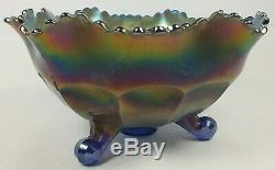 Striking Fenton Electric Blue Carnival Glass Stag & Holly 3 Footed Deep Bowl