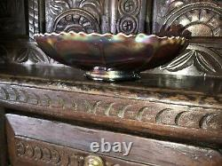 Superb Carnival Glass Bowl With Peacock Tail Fan Design C. 1910