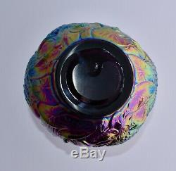 Superb Large Fenton Iridescent Carnival Glass Vase SWANS, WATER LILY, CATTAILS