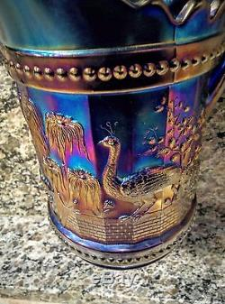 Vintage Blue Northwood Carnival Glass Pitcher Set Peacocks/fountain