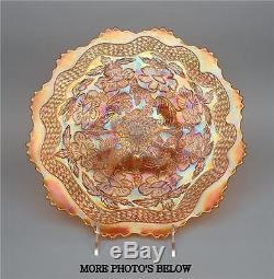 VINTAGE FENTON MARIGOLD CARNIVAL GLASS TWO FLOWERS CHOP PLATE