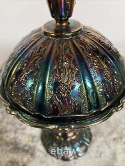 VTG Fenton Carnival Glass Compote Flower Daisy Footed Candy Dish Lid Pedestal 9