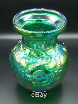 Very Rare! Large 1992 Fenton Green Apple Tree Carnival Glass Vase With Sticker