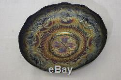 Vintage BLUE PURPLE CARNIVAL GLASS BOWL with ROSES & GRIFFINS / DRAGONS 8