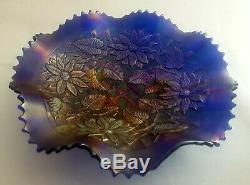Vintage Carnival Glass Fenton Indiana Iridescent Blue Footed Bowl