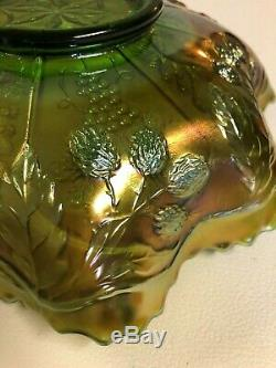 Vintage Carnival Glass Fenton Peacock And Grapes Green 9 inch Bowl