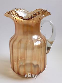 Vintage FENTON Marigold Iridescent CARNIVAL GLASS PITCHER with 6 GLASSES