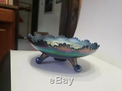 Vintage Fenton Blue Grape And Cable Carnival Glass Footed Ruffled Edge Bowl