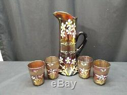 Vintage Fenton Carnival Amethyst Tankard Forget Me Not 5 Piece Water Set