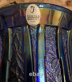 Vintage Fenton Carnival Iridescent Blue Icicle Vase The Verlys Moulds