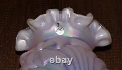 Vintage Fenton Carnival Opalescent Iridescent Pink Glass Ruffled Bow Vase USA