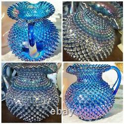 Vintage Fenton Cobalt Blue Carnival Glass Spiked Hobnail Water Pitcher Ruffled