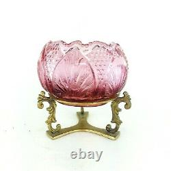 Vintage Fenton Glass Rose Bowl Vase with Brass Stand Amethyst / Purple Color