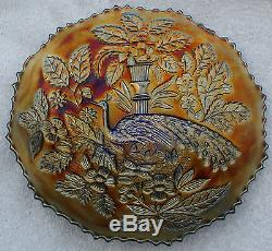 Vintage Fenton Peacock and Urn Blue 9-inch Carnival Glass Plate
