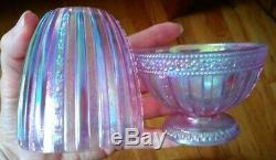 Vintage Fenton Pink Carnival Glass 2p Fairy Light 5 1/4 Tall