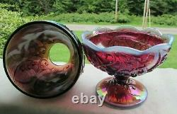 Vintage Fenton Plum Opalescent Carnival Glass Lily of the Valley Fairy Lamp 7