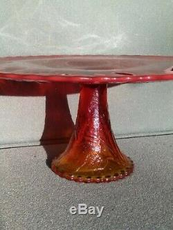 Vintage Fenton iridescent Red Cake Stand Carnival Glass RARE