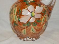 Vintage Floral Hand Painted Draped Fenton Carnival Glass Pitcher