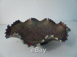 Vintage Northwood Embroidered Mums Carnival Glass Ruffled Bowl 9